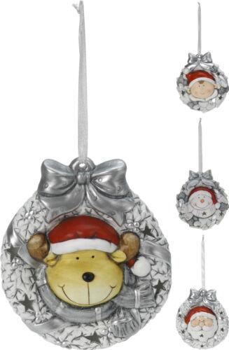 Ceramic Christmas Wreath Hanging Christmas Decoration with LED Lights 2 Sizes