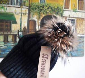 Mütze Echtfell Abnehmbarer Bommel Strickmütze Fellbommel Melange Mit Kaschmir Warm Und Winddicht