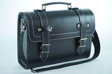 Leather Top Case Shoulder Laptop Messenger Bag Briefcase Vespa Vintage Black