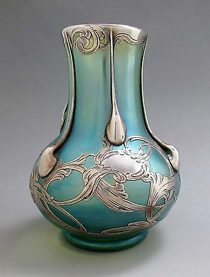 LOETZ Glatt Crete Art Glass Vase LA PIERRE Sterling Silver Overlay Double Signed