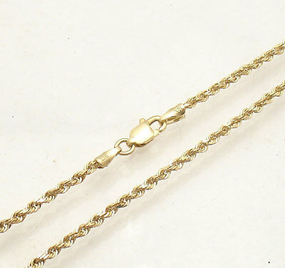 """10/"""" 1.5mm Diamond Cut Rope Ankle Bracelet Anklet Real Solid 14K Yellow Gold"""