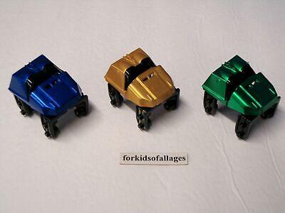 MICRO KNEX LOT of 3 Roller Coaster Cars Metallic Red Gold Blue Mini K/'nex Parts