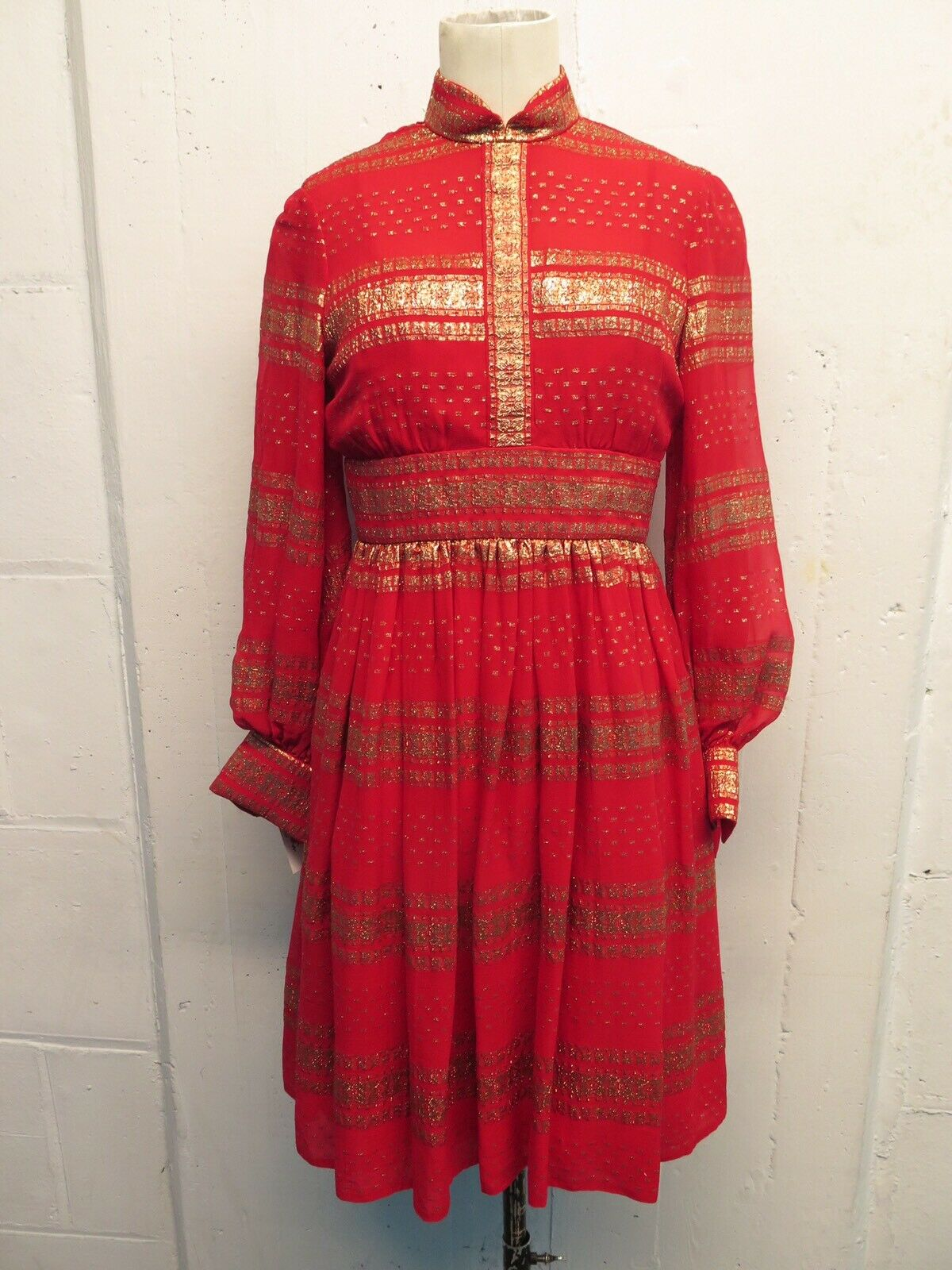 Vintage Ceil Chapman Red & gold Lurex  Silk Puff Sleeve Dress Sz XS S
