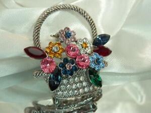 WOW Stunning Super Sparkling Rhinestone Vintage 80's Flower Basket Brooch 585A0