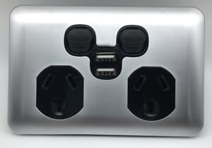 Double-USB-Port-3-Pin-Electrical-Power-Point-Socket-Outlet-Slim-GPO-Silver-Black