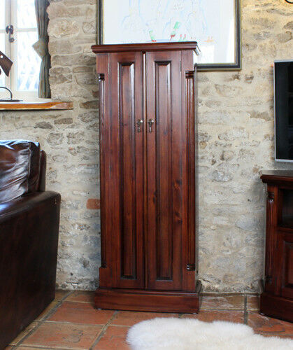 Baumhaus La Roque CD/DVD Cupboard with 5 Shelves - Solid Mahogany Wood