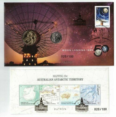 2019 Patron Brisbane Stamp /& Coin Fair OP Moon Landing PNC AAT MS