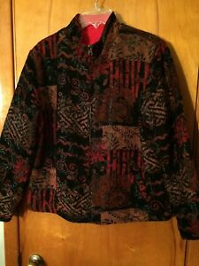 Chico-s-Reversible-Tapestry-Red-Flannel-2-Pkt-Zip-Size-1-8-10