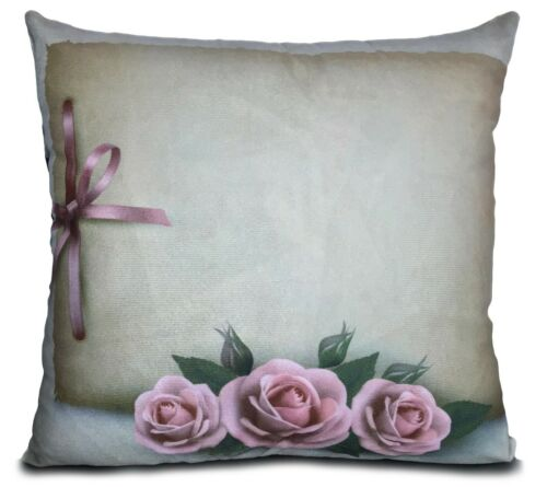 "Coussins New Soft Velours Effet Coussins ou couvre Floral 17/""X17/"" Rose"