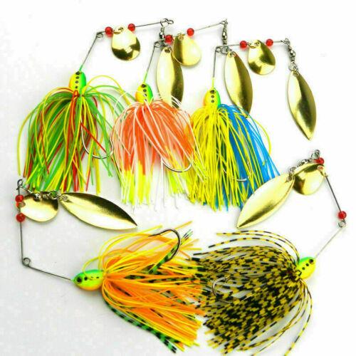 5 PCS Gemischte Farbe Spinner Fischerei Lockt Bass CrankBait Köder Tackle K S2N9