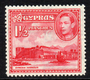 Cyprus-1-1-2-Piastres-Stamp-c1938-51-Mounted-Mint-Hinged-4166
