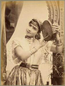 Algeria Nice girl in traditional costume with tambourine Large photo 1880c XL330
