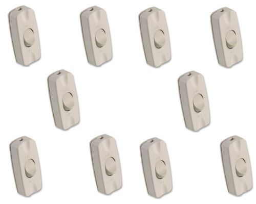 10 X Inline Table Lamp Light Switch White cable On Off 2 Amp 240V Torpedo Rocker