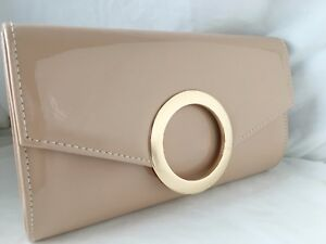 Image Is Loading Las New Patent Glossy Beige Envelope Clutch