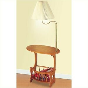 Coaster Oval End Table with Lamp in Warm Brown