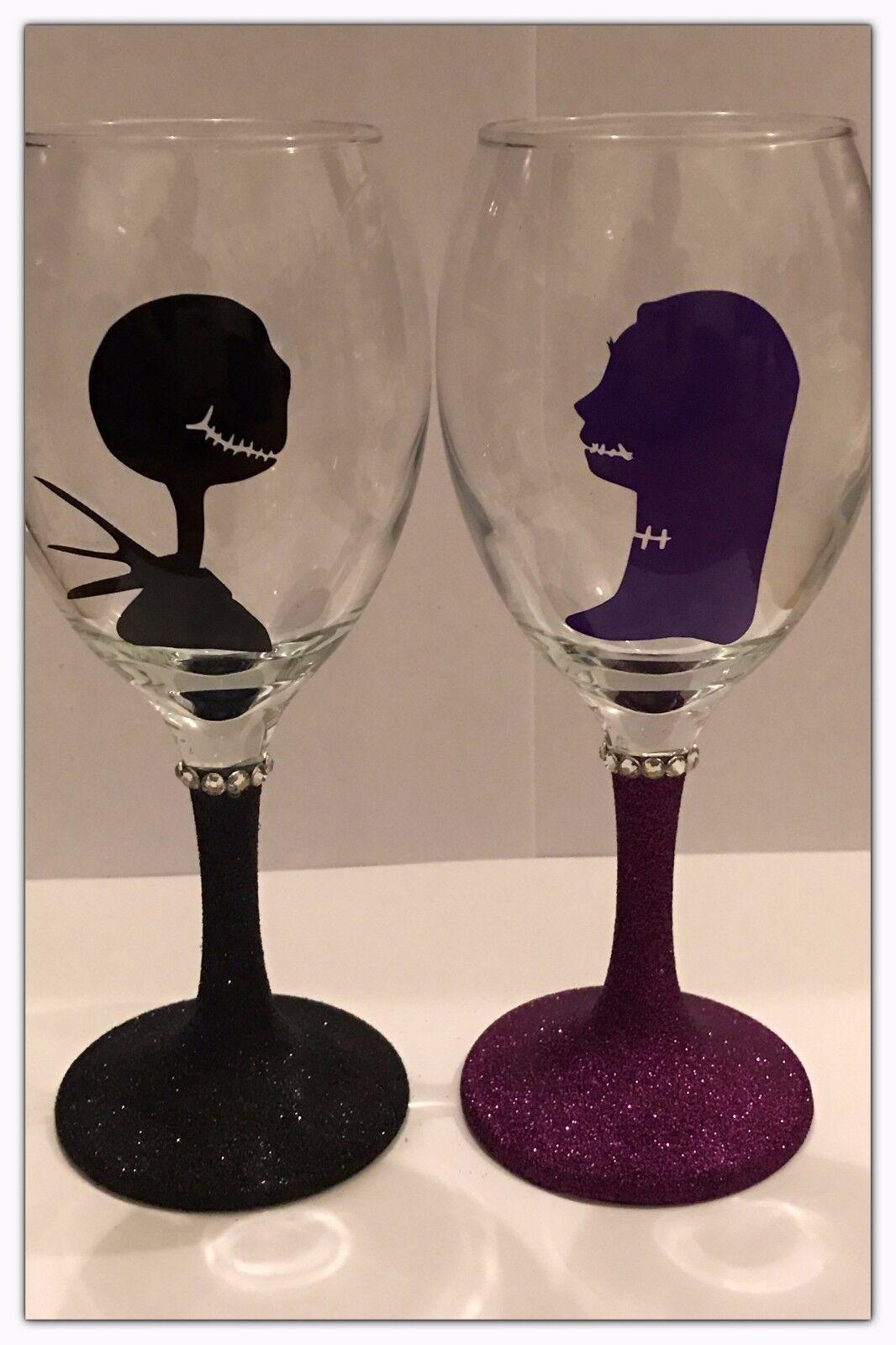 Nightmare Before Christmas Jack Skellington Sally Glitter Wine Glass ...