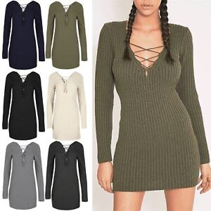5e9dc362fd Womens Ladies Ribbed Knit Front Back Eyelet Lace Up V Neck Mini ...