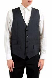 Dolce-amp-Gabbana-Hombre-Lana-Gris-Oscuro-con-Botones-Vestido-Chaleco-Us-42-It-52