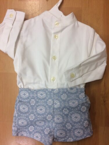 4yrs simiandlola Garçons New Romany espagnol Court Set Baby Blue /& Cream set 6 mois