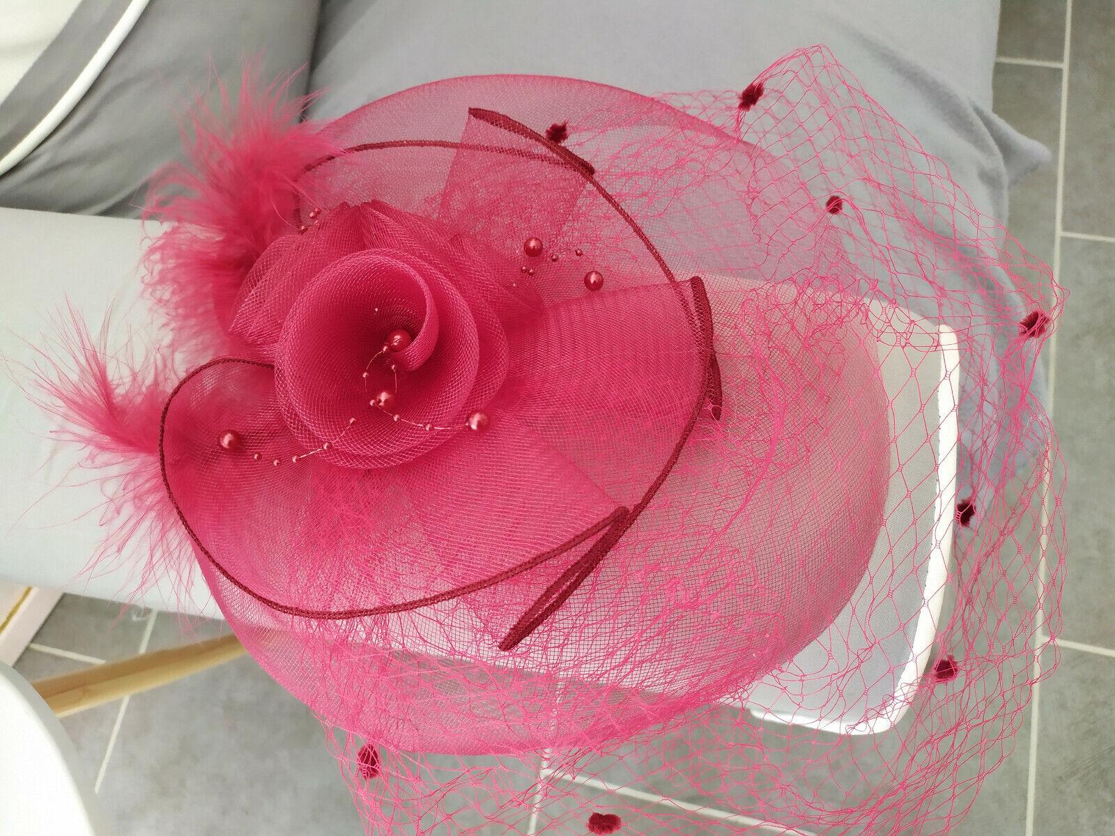Voilette/fascinator/hair clip/wedding ceremony colour: bordeaux