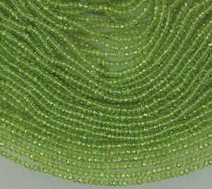 Micro-Faceted-PERIDOT-2mm-Rondelle-Gemstone-Beads-13-25-034-Str-Top-Quality-A