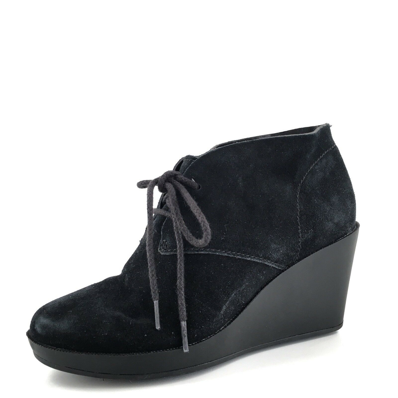 Cole Haan Halley Black Suede Lace Up Ankle Boot Wedges Women's Size 6 M*