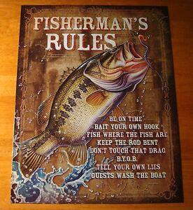 Image Is Loading Fisherman Rules Rustic Fishermen Cabin Fishing Lodge Home