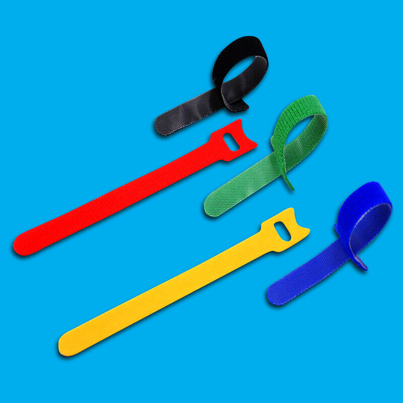 50x Mixed Colour Reusable Hook Loop Cable Tidy Tie Strap Organiser 150mm