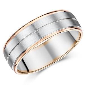 4b8456c56 Men's Palladium and 9ct Rose Gold Wedding Ring 5mm 7mm Band | eBay