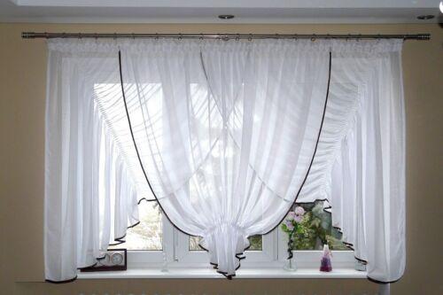 Los modernos de fertiggardine voile set hermosas Gardine fenstergardine ag13-b blanco
