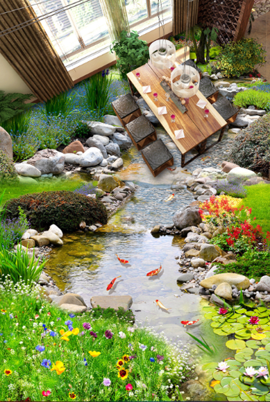 3D Garden Stone River 64 Floor WallPaper Murals Wall Print Decal AJ WALLPAPER CA