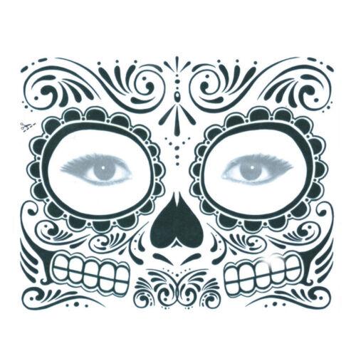 """Tatuaggio Adesivo VISO-Make-Up Halloween ricoprire /""""giorno dei morti"""