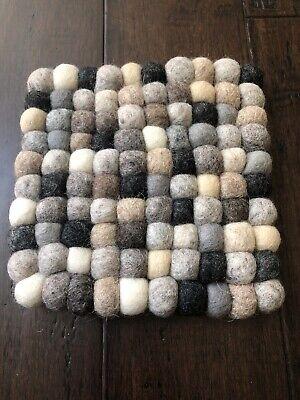 "4"" Set 4 Handmade Multicolor Felt Balls Coaster Trivet Square Wool Pom Pom T9"