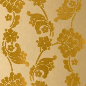 Details About Anna French Wild Flora Velvet Jacquard Flock Feature Wallpaper Gold Vel Nw 036