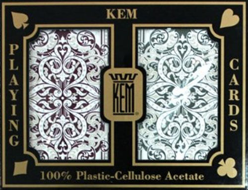 KEM JACQUARD PLAYING CARDS POKER SIZE JUMBO STANDARD INDEX 100% PLASTIC