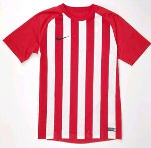 Nike-Striped-Segment-Soccer-Jersey-Red-White-Men-039-s-M-Futbol-Shirt-832976