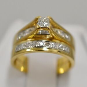18K-Yellow-Gold-Solitaire-Diamond-w-Accents-0-35-tcw-Double-Band-Ring-Size-5-25