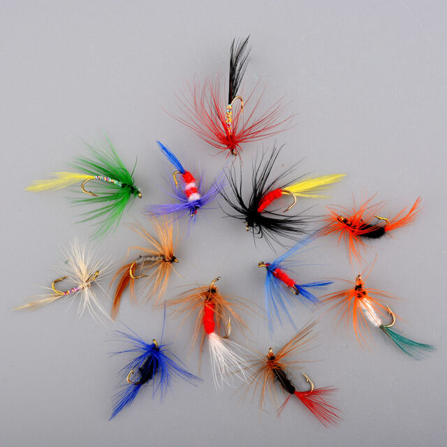 12pcs Various Dry Fly Hooks Baits Tool Fishing Trout Salmon Flies Lures NEW