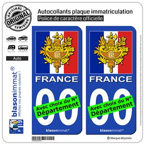 2 Stickers autocollant plaque immatriculation Auto : France - Armoiries Drapées