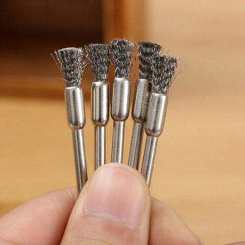 10pc Rotary Steel Wire Wheel Brush Cup Tool Shank for Dremel Drill Rust Weld Hot
