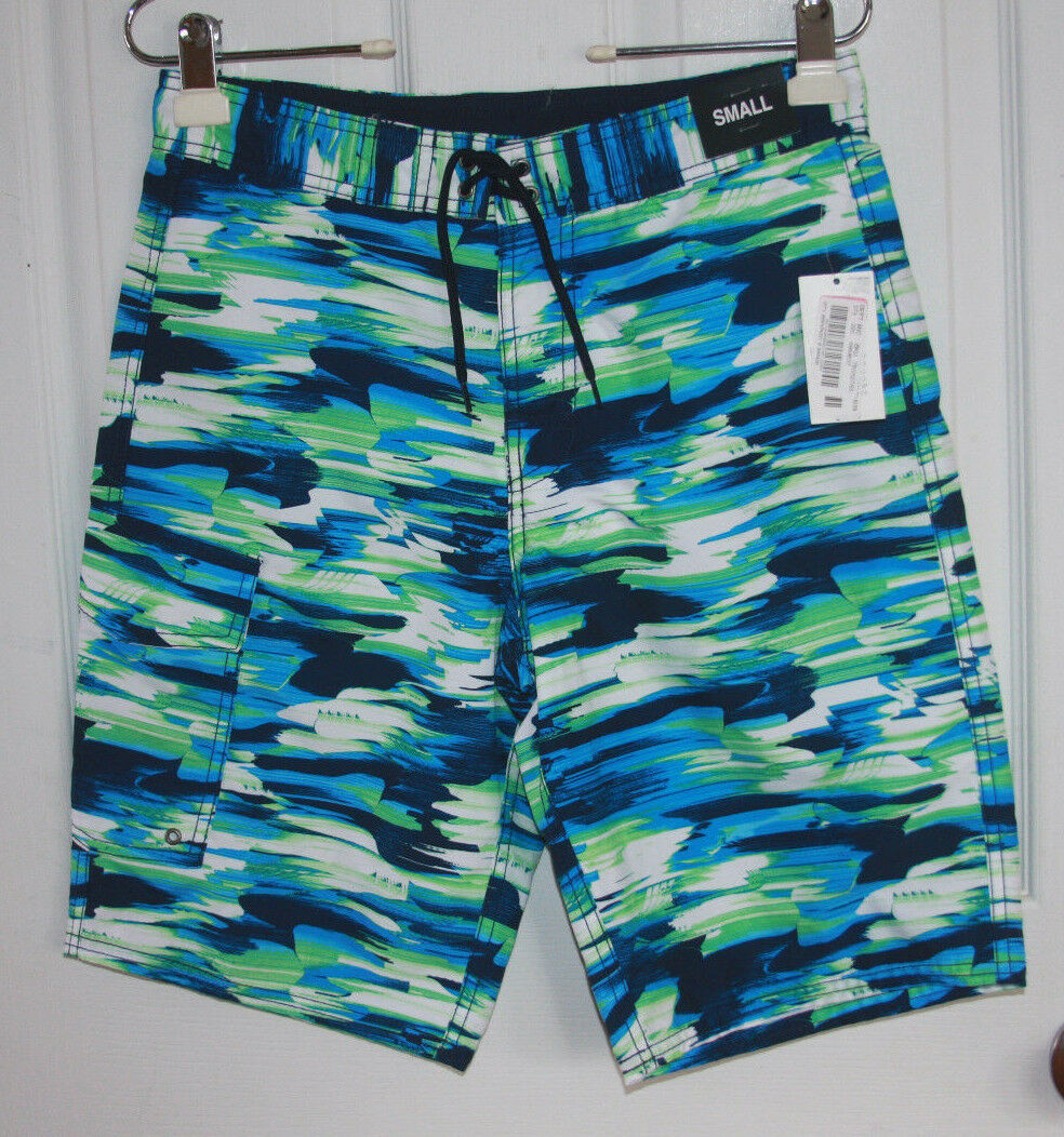 Roundtree & Yorke Swim Trunks Small Green bluee White Net Lining Polyester NWT