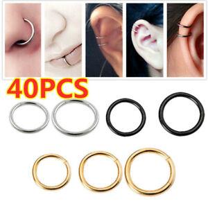Seamless Hinged Segment Sleeper Clicker Ring Hoop Ear Lip Nose Septum Piercing U