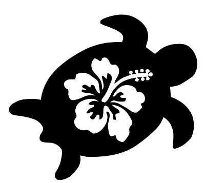 Sea Turtle Hibiscus Flower Car Window Decal Bumper Sticker Hawaiian Hawaii 0394