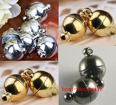 10Sets Silver Gold Plated Smooth Round Ball Magnetic Clasps 6/8mm Jewelry Making