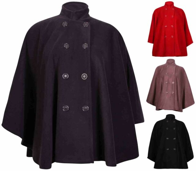 Womens New Plain Ladies Cape Button Double Breasted Coat Jacket Poncho Plus Size