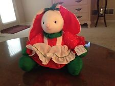 Russ Christmas Holiday Nylon Puff a lump Bunny Girl with Red Dress and apron