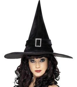 Disfraz-de-Halloween-Mujer-Bruja-Sombrero-Con-Hebilla-Negro-NUEVO-De-SMIFFYS