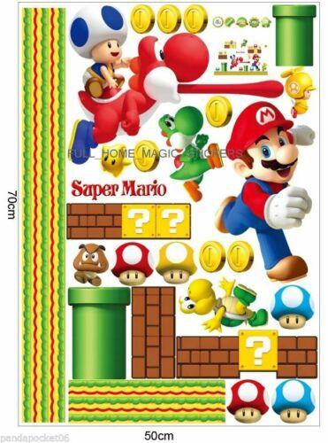 Super Mario FONCTIONNE Wall Sticker enfants jeu Garçons Salle de Jeu Chambre à Coucher Décor
