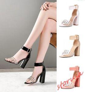 eea6f21408 Womens Clear Rhinestone Open toe Chunky High Heels Ankle Strap Prom ...
