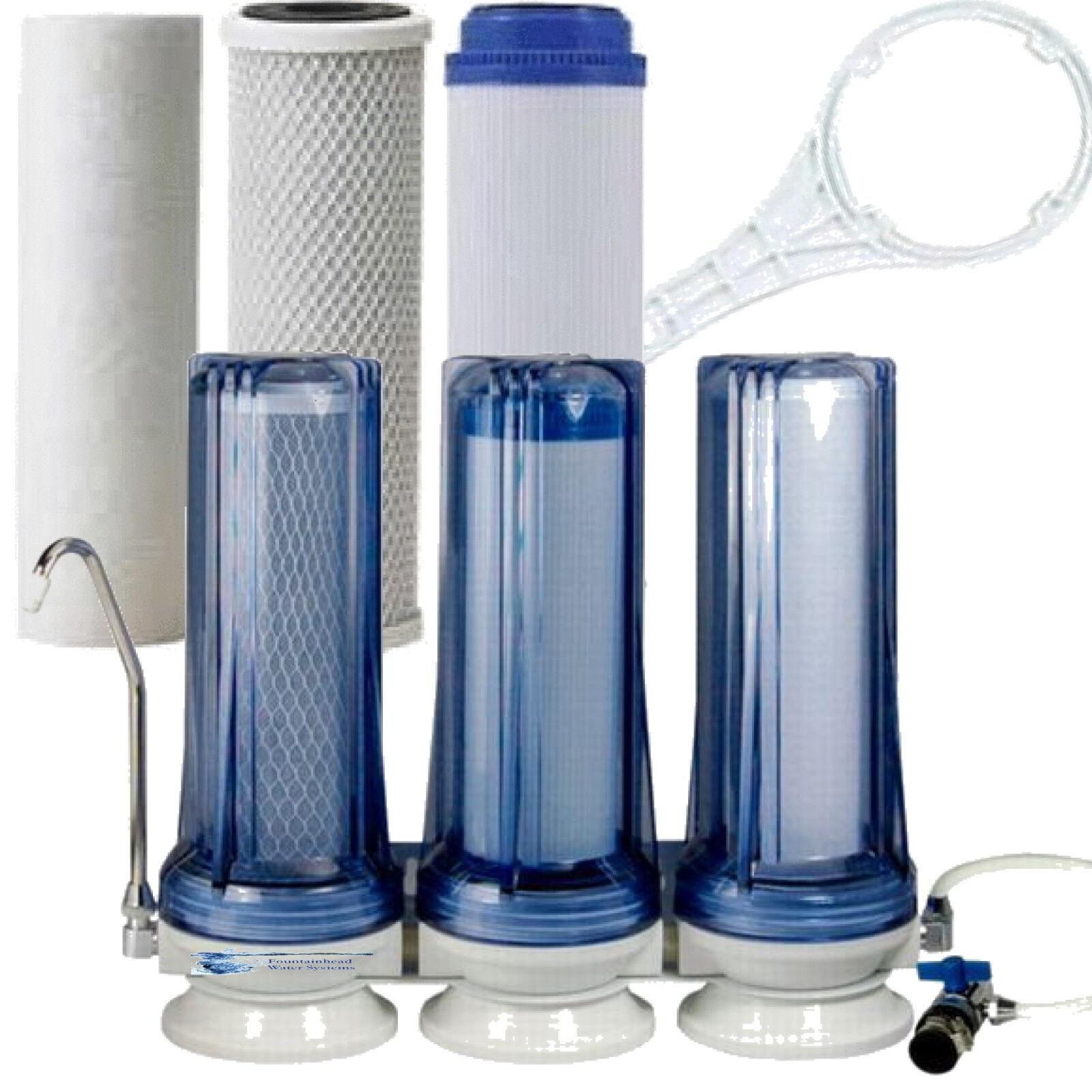 FOUNTAINHEAD 3 étape Comptoir Filtre à eau claire des Sédiments Fluorure carbone